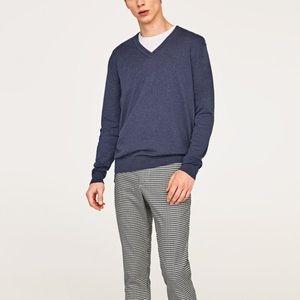 Zara men blue V-neck sweater